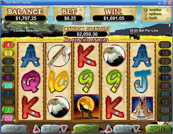 Rain Dance 1100 Spins ClubUSA Casino-Raindance-Win1691