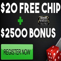 Get 20 Free - No Deposit Needed at Vegas Crest Casino